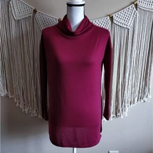 Love In Maroon Burgundy Red Knit Cowl Neck Sweater